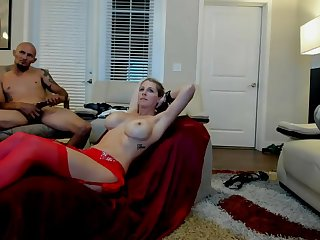 Pretty Milf Sex Slave with Well-known Tits gets fucked by 10 inches BBC and Sir