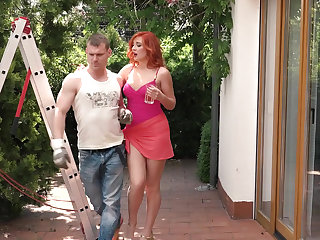 Blowjob, European, Outdoor, Red, Sex, Son, Young,