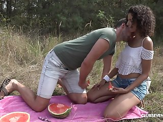 Cute curly Hungarian girl Bunny Honour gets her wet pussy licked outdoors