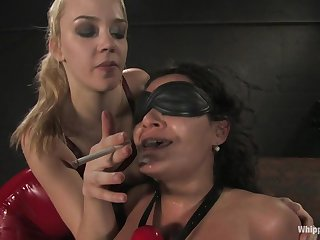 Brutal tribadic femdon with Charley Track and Annette Schwarz - face dildo and smoking