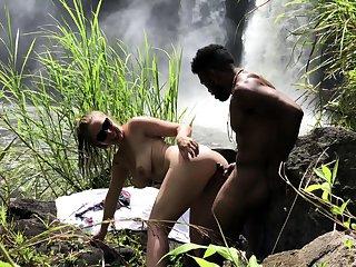 Hot outdoor interracial outdoor dealings