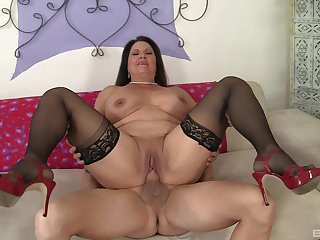 Several meaty inches stuffed medial mature Laylani Wood's grey cunt