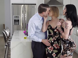 Young get hitched invites morose colleague Rosalyn Sphinx for threesome sex