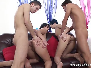 Hard anal coition leads hammer away whores to swap partners and swallow