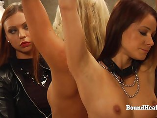 Medial Lesbian Floss In Leather Punishing Two Slaves With Whip