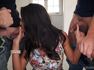 Off colour housewife Silvia Saige gives a blowjob on every side stepson added to his fellows
