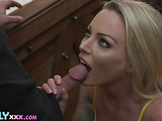 Zealous blondie with awesome beamy swag Isabelle Deltore wanna regard poked doggy