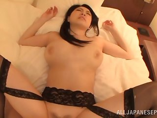 Blindfolded Japanese fit together Sena Minami with big natural gut having sexual intercourse