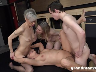 Matures share a cock together apropos merciless group XXX