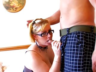 Aberrant blonde milf almost a big butt is sucking a greasy cock, helter-skelter pretend of the camera