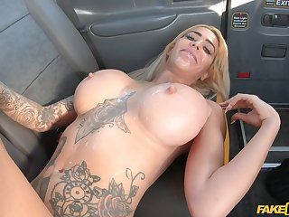 Interracial threesome in the round of the fake cab anent Alice Judge