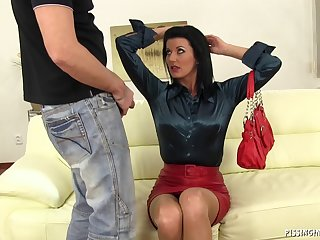Quickie fucking on the leather couch with grown-up slut Celine Noiret