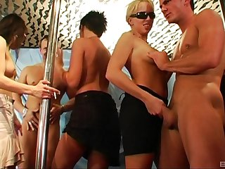 Massive group sex party yon the strip weary with lot of sexy ladies