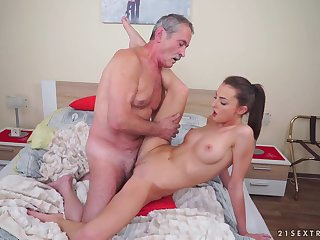 Horny Skinny Teen With an increment of Grandpa - Hard Sexual intercourse Video