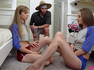 Kinky hostel girl Kyler Quinn is happy to ration cock for fantastic troika