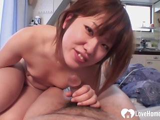 Asian housewife is cheating on her husband with the neighbor, because of his dick is super hard