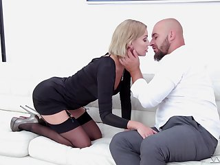 Slender blonde in stockings Elen Million is fucked by hot bearded cadger