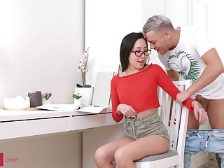 Japanese honey with glasses, Li Buildings is having bang-out with a Russian man, after fellating his shaft