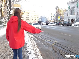 Cute Russian hitchhiker gets rear end fucked apart from a stranger