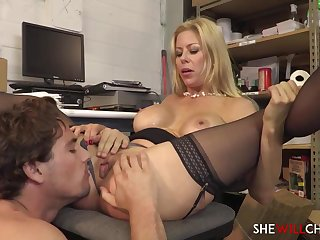 Controversial light-haired COUGAR is using every chance to deepthroat cock and have intercourse with a junior stud